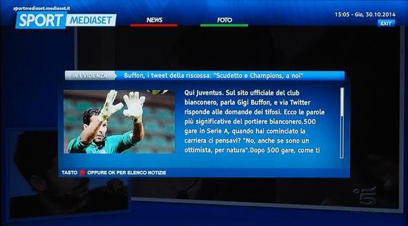 Sport Mediaset sulla TV interattiva